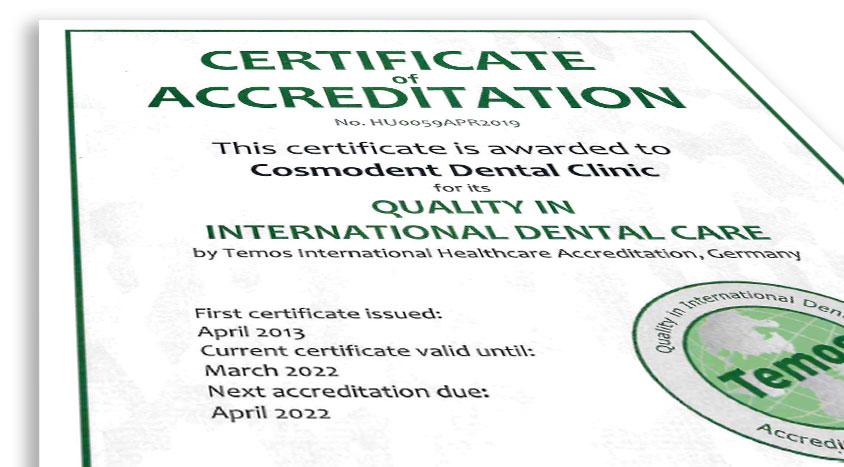 Temos Zertifikatsnachweis für Cosmodent und FirstMed Services GmbH